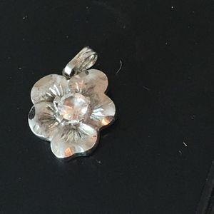 Jewelry - STERLING SILVER HAWAIIAN FLOWER CZ PENDANT2.4GR